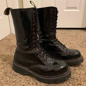 Dr. Marten Rare Black Patten Leather 10 Hole Boots